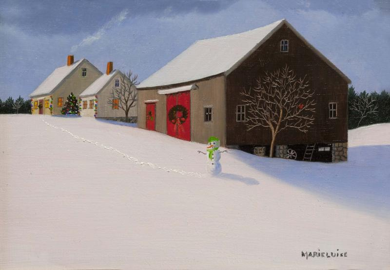 Christmas Greetings, oil on panel, 5 x 7  inches  SOLD