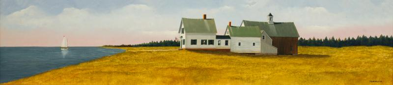 Stay the Course, oil on panel, 8 x 36 inches  SOLD