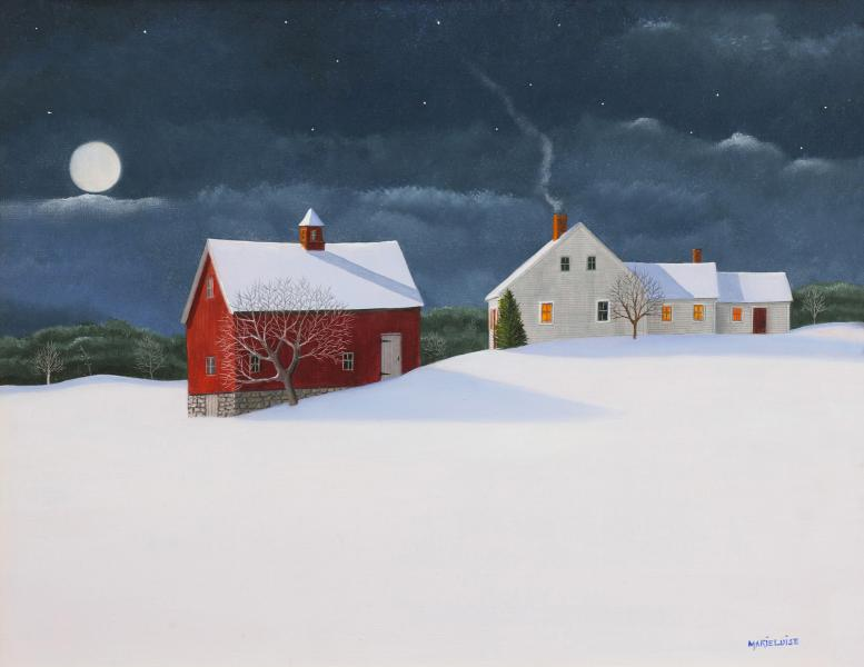 Moonlight and Lamplight, oil on panel, 11 x 14 inches  SOLD