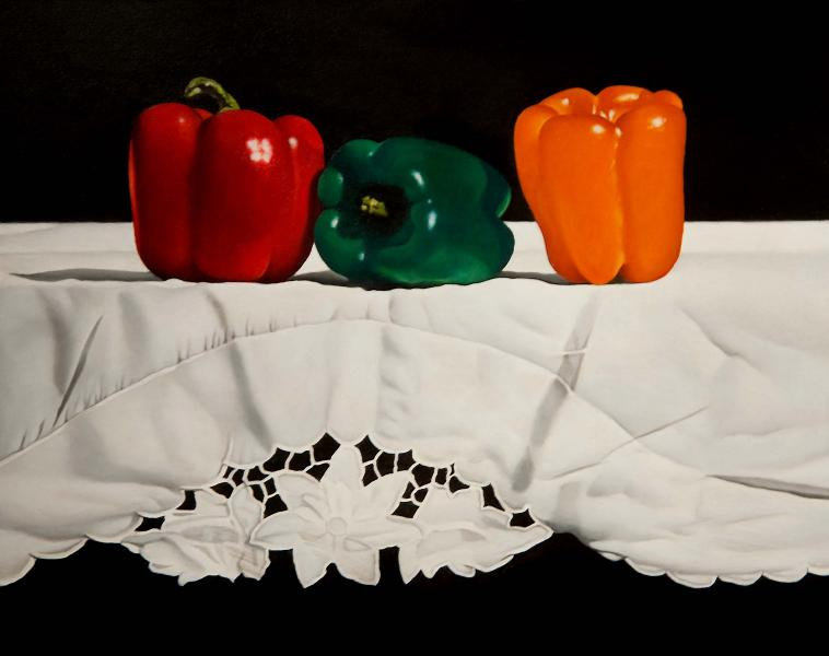 Peppers and Lace, oil on panel, 8 x 10 inches  SOLD