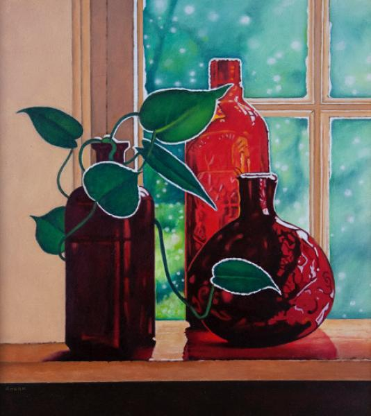 Red Glass, oil on panel, 9 x 8 inches, $2,500