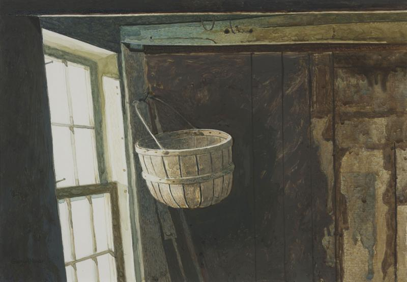 Olson's Basket, drybrush watercolor on paper, 9 1/4 x 13 1/4 inches, $4,500