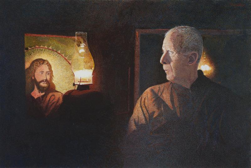 Woodrow and Jesus, drybrush watercolor on paper, 12 1/2 x 18 1/2 inches, $15,500