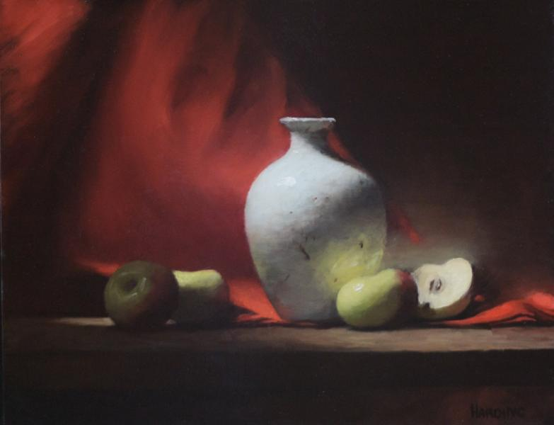 A Study in Scarlet, oil on panel, 11 x 14 inches  SOLD