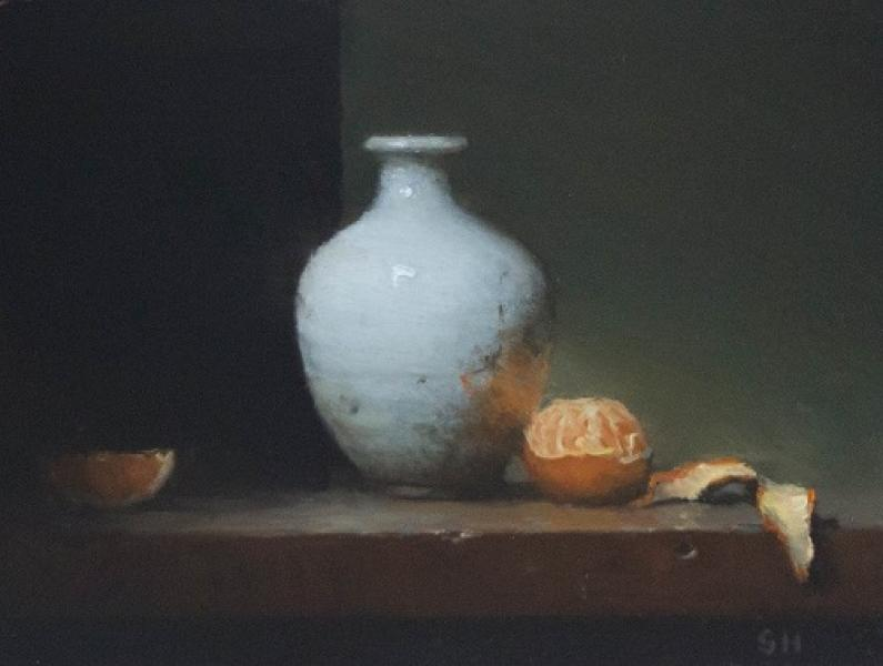 Orange and White, oil on panel, 6 x 8 inches  SOLD