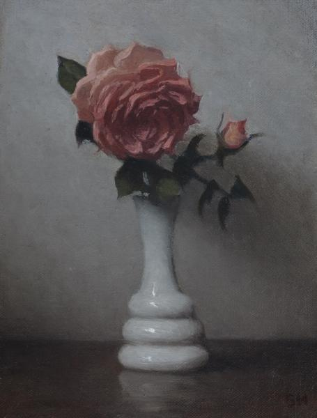 Pink Roses, oil on panel, 8 x 6 inches, $900