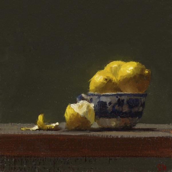 Lemon Glow, oil on panel, 6 x 6 inches  SOLD