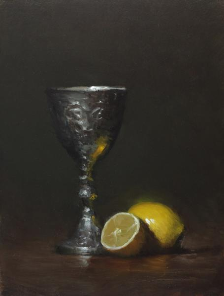 Still Life with Goblet and Lemons, oil on panel, 8 x 6 inches, $900