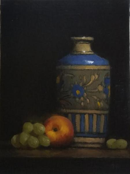 Porcelain and Peach, oil on panel, 8 x 6 inches  SOLD