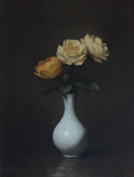 Yellow Roses, oil on panel, 12 x 9 inches  SOLD