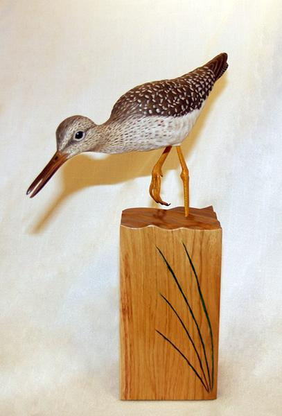 Lesser Yellowlegs, carved tupelo with oils,   SOLD