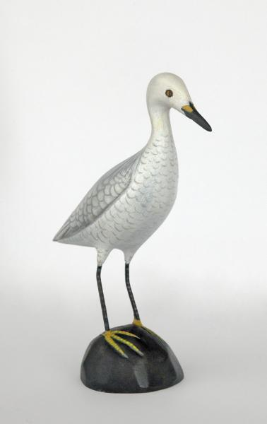 Miniature Egret, Folk Art, carved tupelo with oils, 5.5 x 1.5 inches, $300