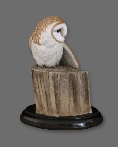 Silent Night, Barn Owl, carved tupelo with oils,   SOLD