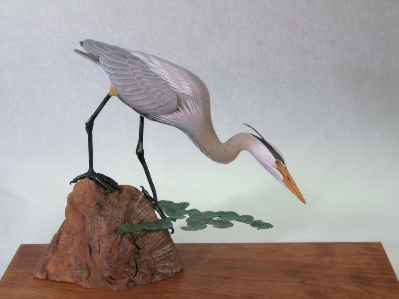 In Deep, Miniature Great Blue Heron, carved tupelo with oil and copper,    SOLD