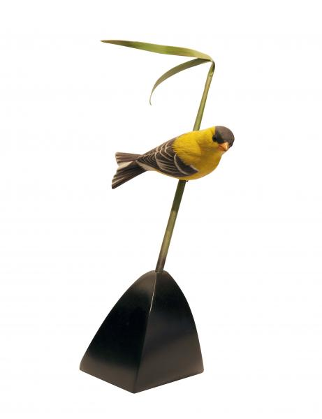 Goldfinch on Reed, carved tupelo with oils,   SOLD