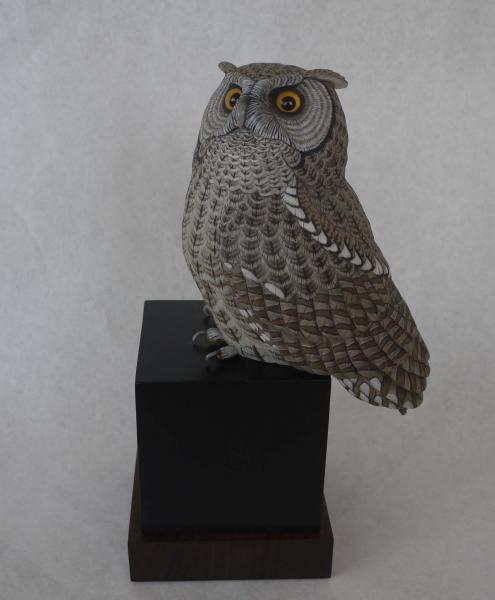 Moonstruck, Screetch Owl, carved tupelo with oils,   SOLD