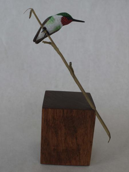 Ruby-Throated Hummingbird , carved tupelo with oils,   SOLD