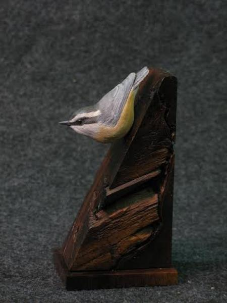 Nuthatch on Walnut, carved tupelo with oils,   SOLD