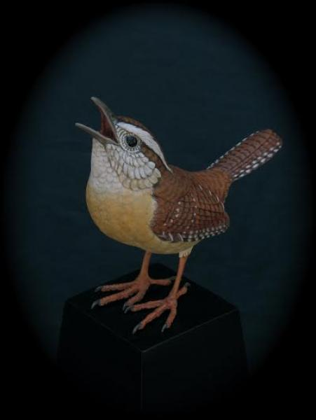 From the Top, Carolina Wren, carved tupelo with oils,   SOLD