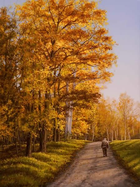 Autumn Stroll, oil on panel, 9 x 12 inches  SOLD