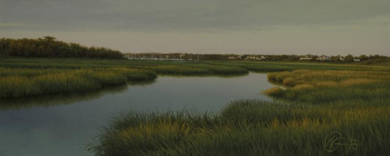 Evening on Sesuit Creek, oil on panel, 3 x 7.5 inches  SOLD