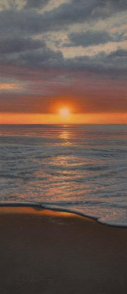 Sunrise on Nauset, oil on panel, 7.5 x 3 inches  SOLD