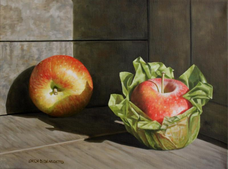 Apples in Crate, oil on canvas, 12 x 16 inches, $2,000