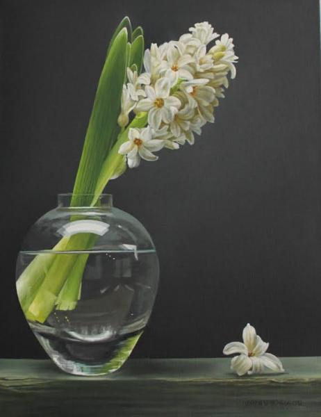 Hyacinth in Vase, oil on canvas, 18 x 14 inches, $2,200