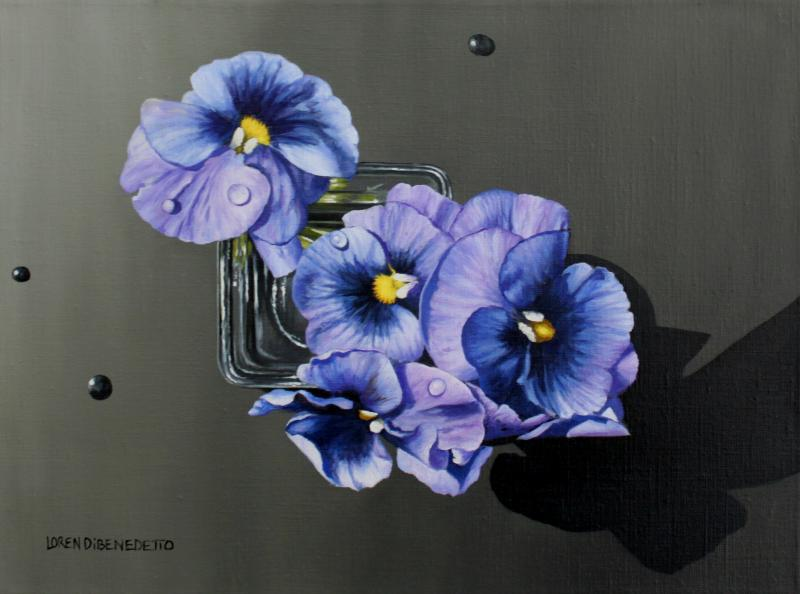 Pansies with Water Droplets, oil on canvas, 12 x 16 inches  SOLD