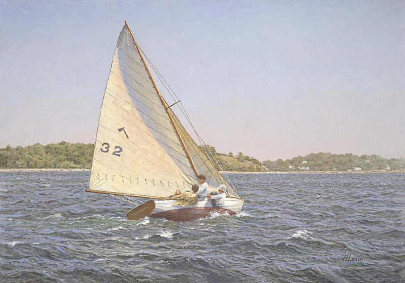 Seminole, Indian Class Sloop, Boston Harbor 1934, oil on canvas, 14 x 20 inches  SOLD