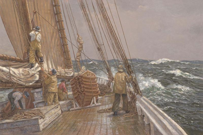 Setting the Storm, Trysail, Gloucestermen, 1920, oil on linen, 15 x 22 inches  SOLD