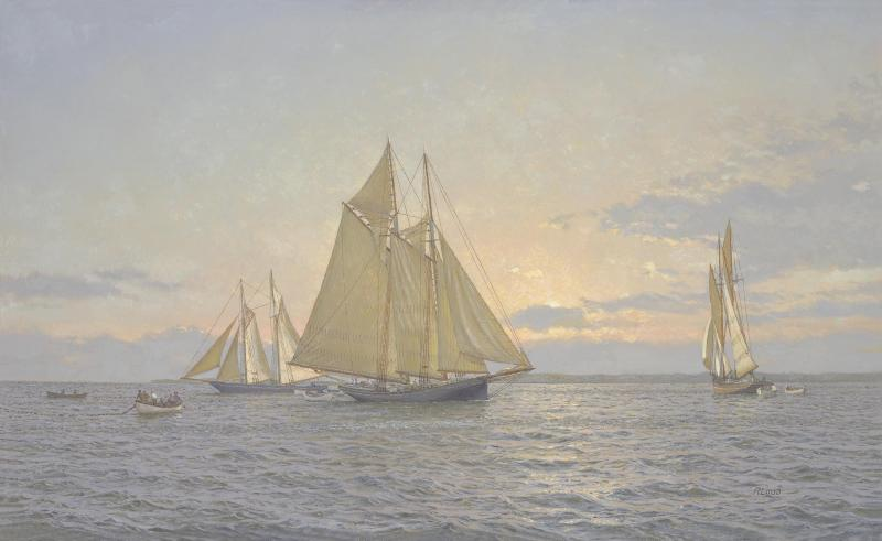 Working A School, Seiners off the Cape c. 1910, oil on canvas, 16 x 24 inches  SOLD