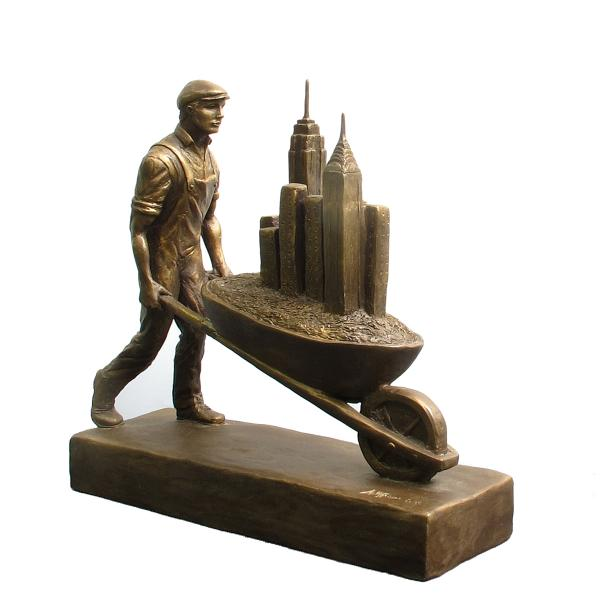 Builders, faux bronze resin, 11 x 11 x 3.5 inches, $600