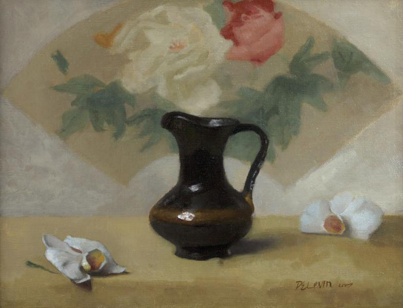 Brown Jug, Chinese Fan, oil on linen, 11 x 14 inches, $2,700