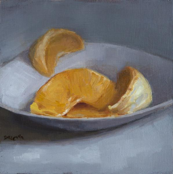Citrus Bite, oil on board, 4 x 4 inches, $Please Inquire