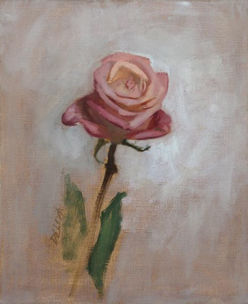 Rose Study, Angle 1, oil on linen, 8 x 10 inches, $900