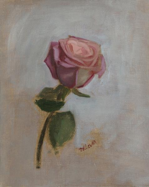 Rose Study, Angle 2, oil on linen, 8 x 10 inches, $900