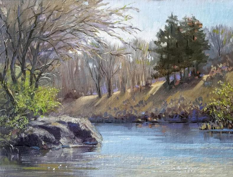 Mill Pond, Early Spring, oil on linen panel, 9 x 12 inches, $1,800