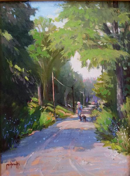 Morning Walk, oil on panel, 12 x 9 inches, $1,800