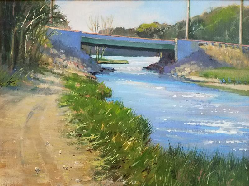 New Bridge at Muddy Creek, oil on canvas panel, 9 x 12 inches, $1,800