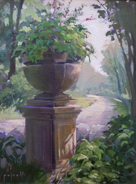 Old Shade Garden, oil on panel, 12 x 9 inches, $1,800