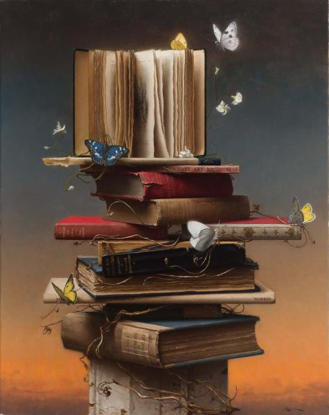 Books and Butterflies, oil on canvas, 28 x 22 inches  SOLD