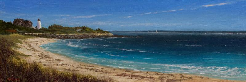 Lighthouse Breeze, oil on panel, 4 x 12 inches, $2,000