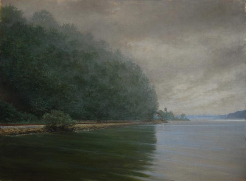 Waiting - View of NYC and Hudson River, oil on panel, 12 x 16 inches  SOLD