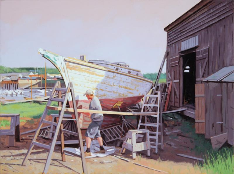 Refinishing the Hull, oil on linen, 12 x 16 inches  SOLD