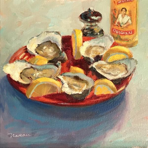 Cholula Oysters, oil on mounted linen, 12 x 12 inches, $1,000