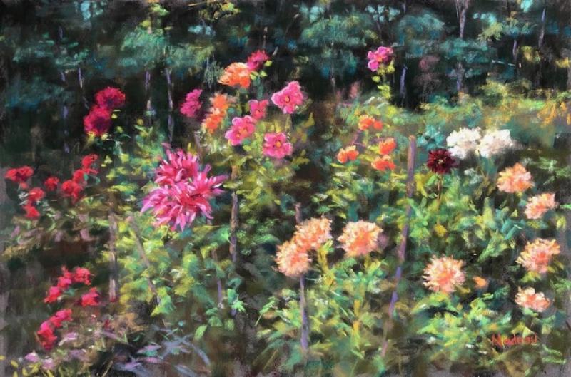 Dahlia Delight, pastel on La Carte, 12 x 18 inches, $1,300