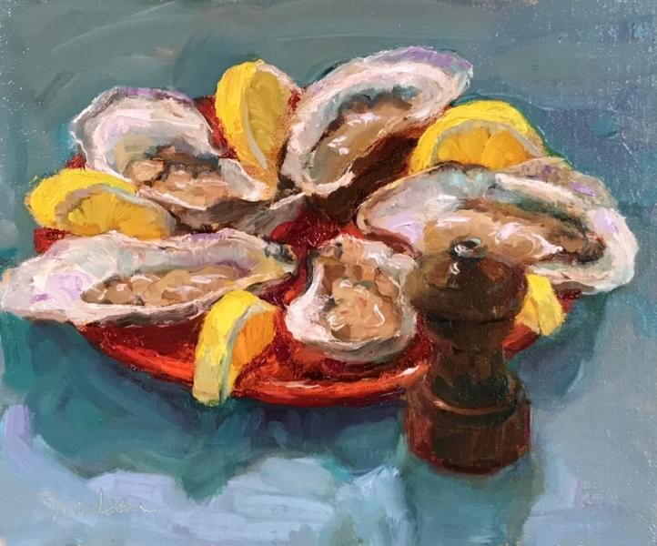 Favorite Oysters, oil on wood panel , 10 x 12 inches, $950