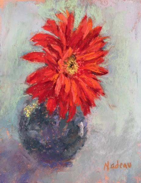 Hot Daisy, pastel, 8 x 6 inches, $500