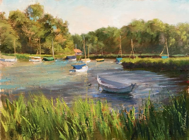 Kent's Point Tender, oil on linen, 12 x 16 inches, $1,800